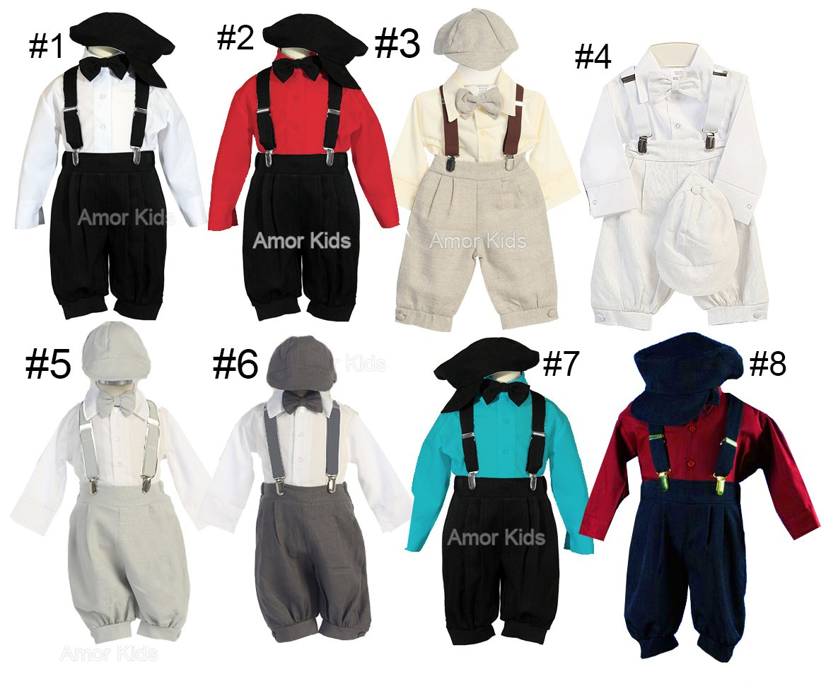Little Boys Linen 5 Piece Knicker Suit Set - Vintage Suspender Bowtie Suit Set ABKNICK0079