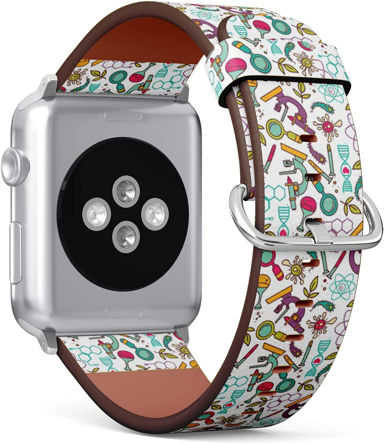 Compatible with Small Apple Watch 38mm & 40mm (All Series) Leather Watch Wrist Band Strap Bracelet with Stainless Steel Clasp and Adapters (Science)