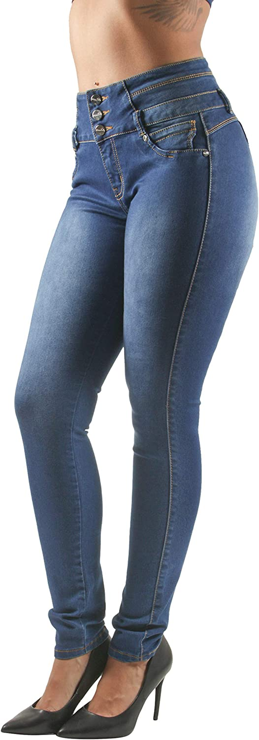 Details about  /Colombian Push Up Blue Capri Ripped Butt Lifter Stretch Levanta Cola Slimming