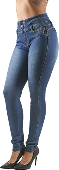 Details about  /Colombian Jeans Blue High Waisted Push Up Butt Ripped Lift Levanta Cola Slimming