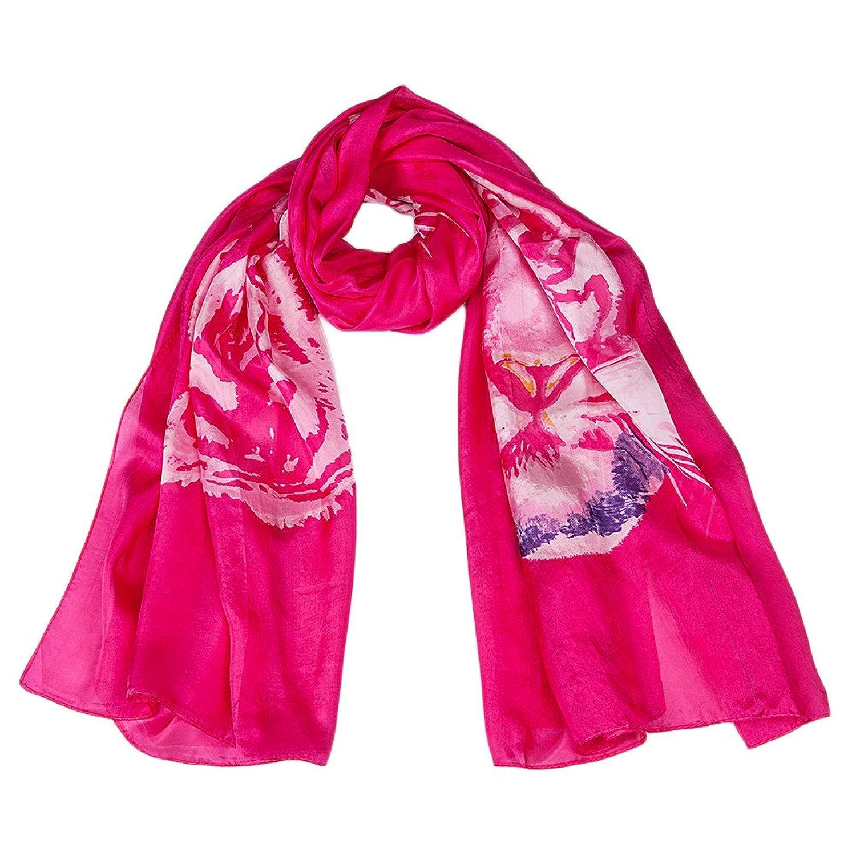 Ecowonder Women's Functional Long 100% Premium Silk Scarf Tiger Printing