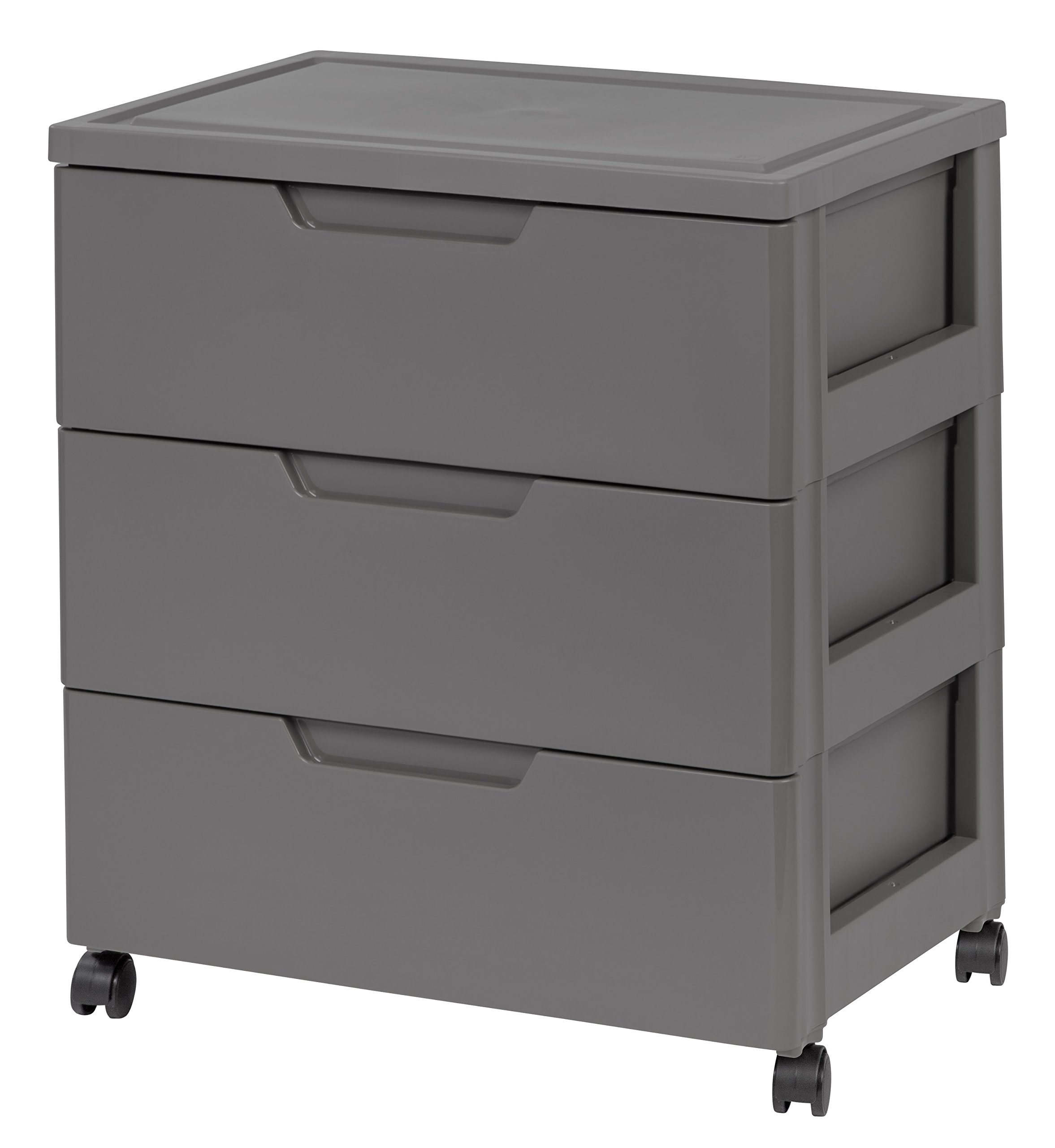 IRIS 3 Drawer Wide Chest, Gray - High grade chest provides an excellent storage and organizing solution Furniture grade drawer stops and built-in drawer pulls for ease of opening Includes four casters for easy mobility - dressers-bedroom-furniture, bedroom-furniture, bedroom - 71tNACOuYwL -