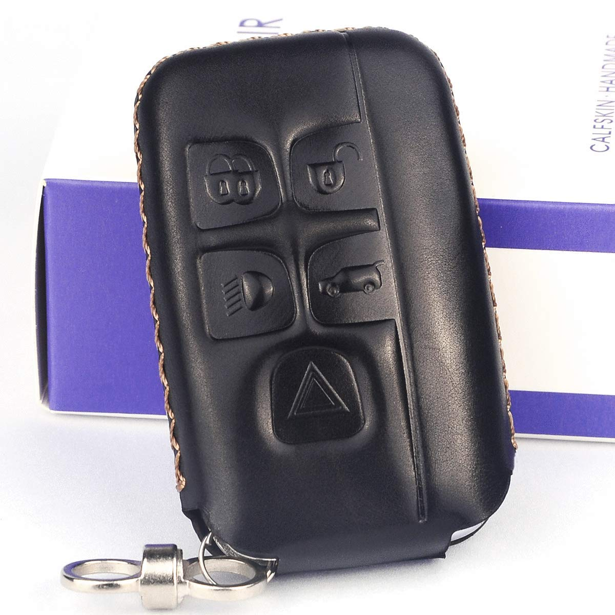 Cadtealir absortive Baby Calfskin Genuine Leather Key fob Cover case Holder for Jaguar xf xj xjl xe f-pace