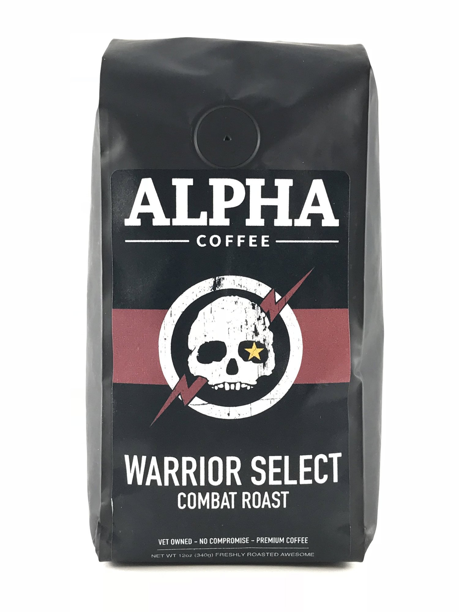 Alpha Coffee, Dark Roast Coffee Beans, 12 oz. Robust Warrior Select Combat Roast, 100% Arabica Coffee, from Central America, Papua New Guinea
