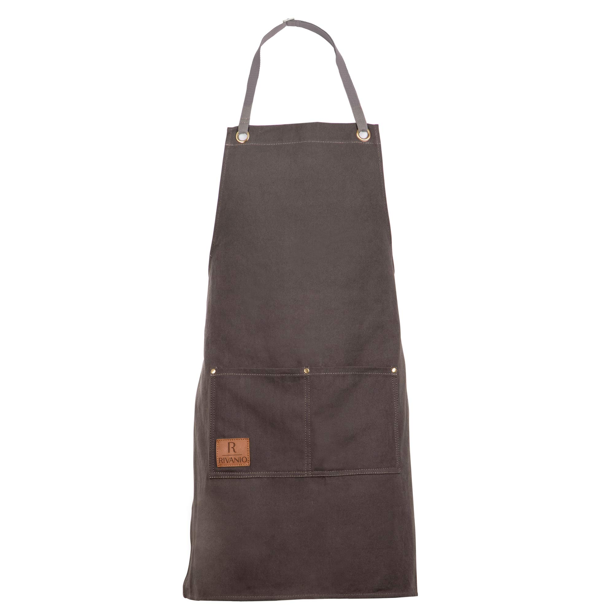 Rivanio Canvas Cooking Apron, Long with Large Pockets - Kitchen, Shop, Grilling, Workshop Aprons for Men and Women - Adjustable Neck and Waist Straps - Stylish, Professional, Lightweight Bibs