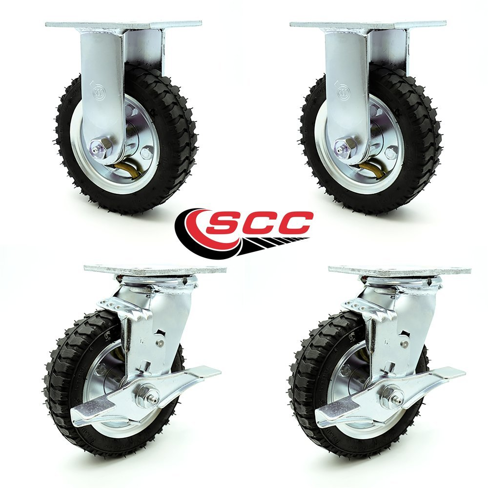 6'' Pneumatic Caster Set of 4-2 Swivel with Brakes/2 Rigid - Black Rubber Wheel - 1,000 lbs. Capacity - Service Caster Brand