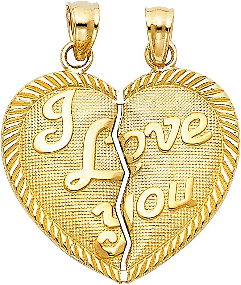 14K Yellow Gold Te Amo Heart 2 Piece Charm Pendant with 1.5mm Flat Open Wheat Chain Necklace