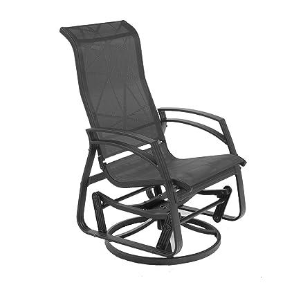 Dura Housewares 11923 Kansas Dallas Aluminum Swivel Glider Chair, Black  Frame With Black Fabric