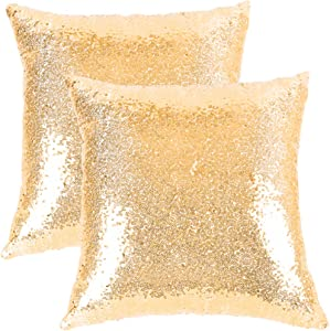 Ushinemi Sequin Pillow Cases, Gold Glitter Square Throw Pillow Covers, Cool Metallic Throw Pillow Cover Protector Stylish Cushions Premium for Sofa Couch and Party Decor, 16x16 inch, 2 Pieces