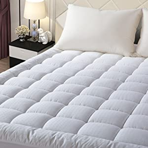 "EASELAND California King Mattress Pad Pillow Top Mattress Cover Quilted Fitted Mattress Protector Long Stretches up 8-21"" Deep Pocket Cooling Mattress Topper"
