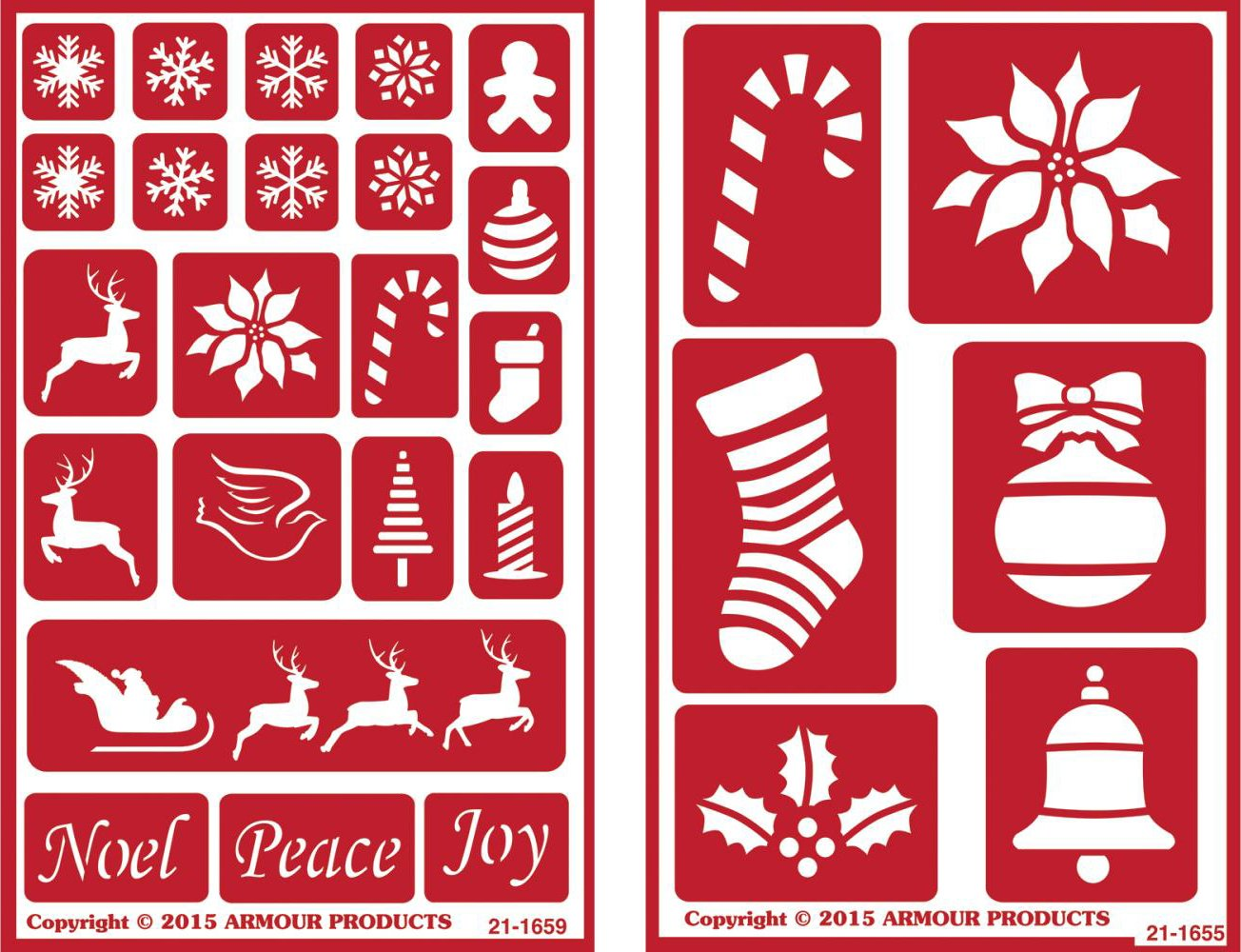 Over 'n' Over Reusable Self-Stick Etching Stencil for Glass (or Stamping) - Bundle of Two Sets - Holiday Baubles & Christmas 2 Armour Products