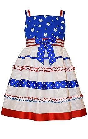 38a4d07d68 Bonnie Jean Little Girls 4th July Patriotic Star Bodice Seersucker Dress  (0-3 Months