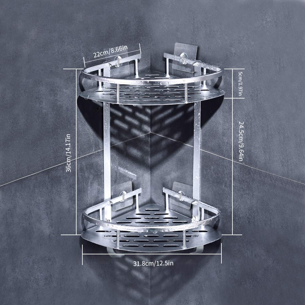 LOBKIN Badregal (ohne Bohren) Robustes 2-Ebenen-Duschregal aus Aluminium, Aufbewahrungskorb für die Küche Klebende Saug-Eckregale