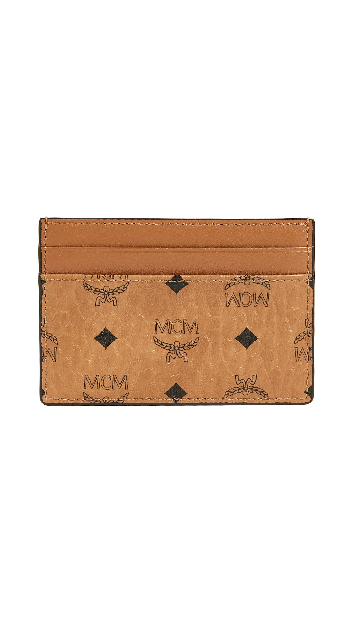 MCM Men's Visetos Card Case, Cognac, One Size