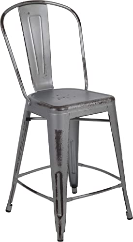 Flash Furniture Commercial Grade 24 High Distressed Silver Gray Metal Indoor-Outdoor Counter Height Stool with Back