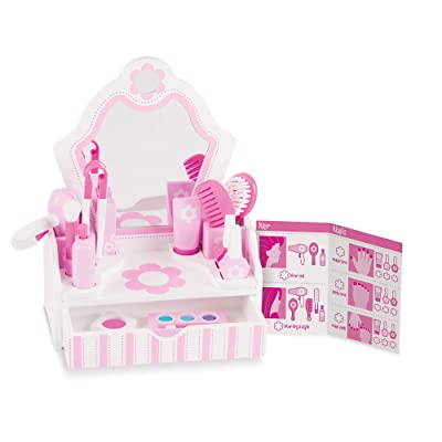 "Melissa & Doug Wooden Beauty Salon Play Set - The Original (Vanity & Accessories, 18 Pieces, 15.5"" H x 12"" W x 6"" L, Great Gift for Girls and Boys - Kids Toy Best for 3, 4, 5 Year Olds and Up): Toys & Games"