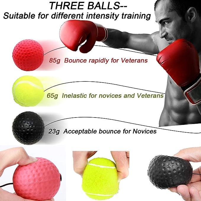 pour Les R/éactions de d/'entra/înement s/'am/éliorent Fight Vitesse La Coordination Main-/œil Balle de Combat avec Bandeau de T/ête Ballon de Boxe Ballon dentra/înement de Boxe KATELUO Boxing Reflex Ball