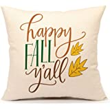 Happy Fall Y'all Home Decor Throw Pillow Case Cushion Cover 18 x 18 Inch Cotton Linen