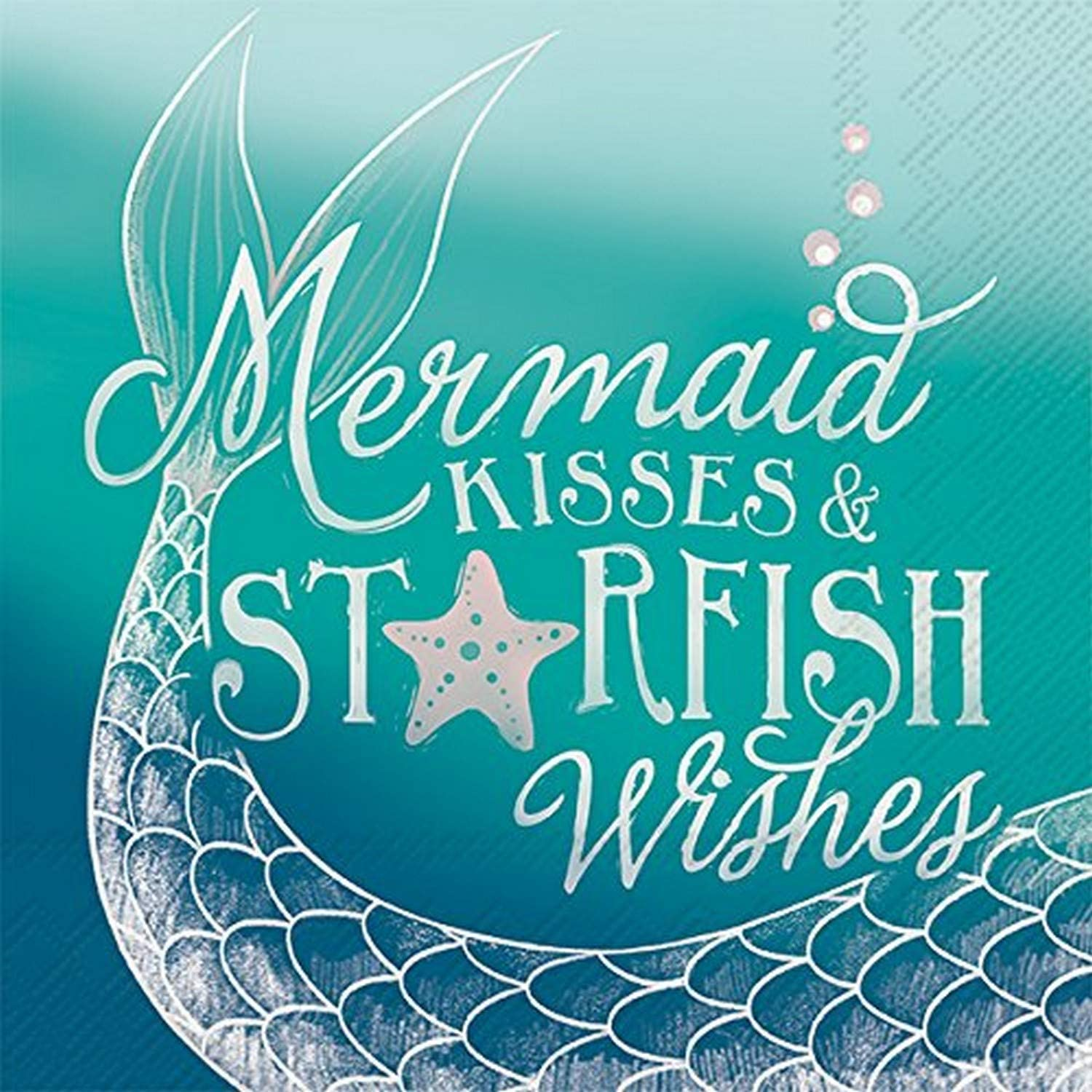 Celebrate the Home Beachy 3-Ply Paper Cocktail Napkins, Mermaid Kisses, 20 Count