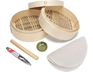 Melilodine 10 Inch hand made bamboo steamer,dumpling steamer.two-tier baskets&10 pieces of reusable cotton steamer liners,Food tong,Sauce Dish,Rolling Pin.Healthy cooking for Dumplings, Rice,Vegetable