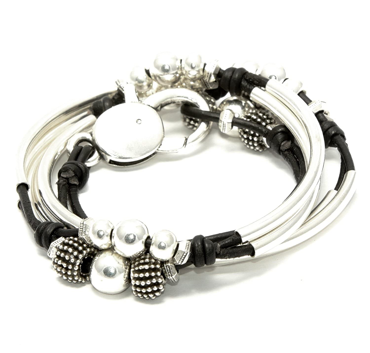 London Silverplated 2 Strand Natural Black Leather Wrap Bracelet