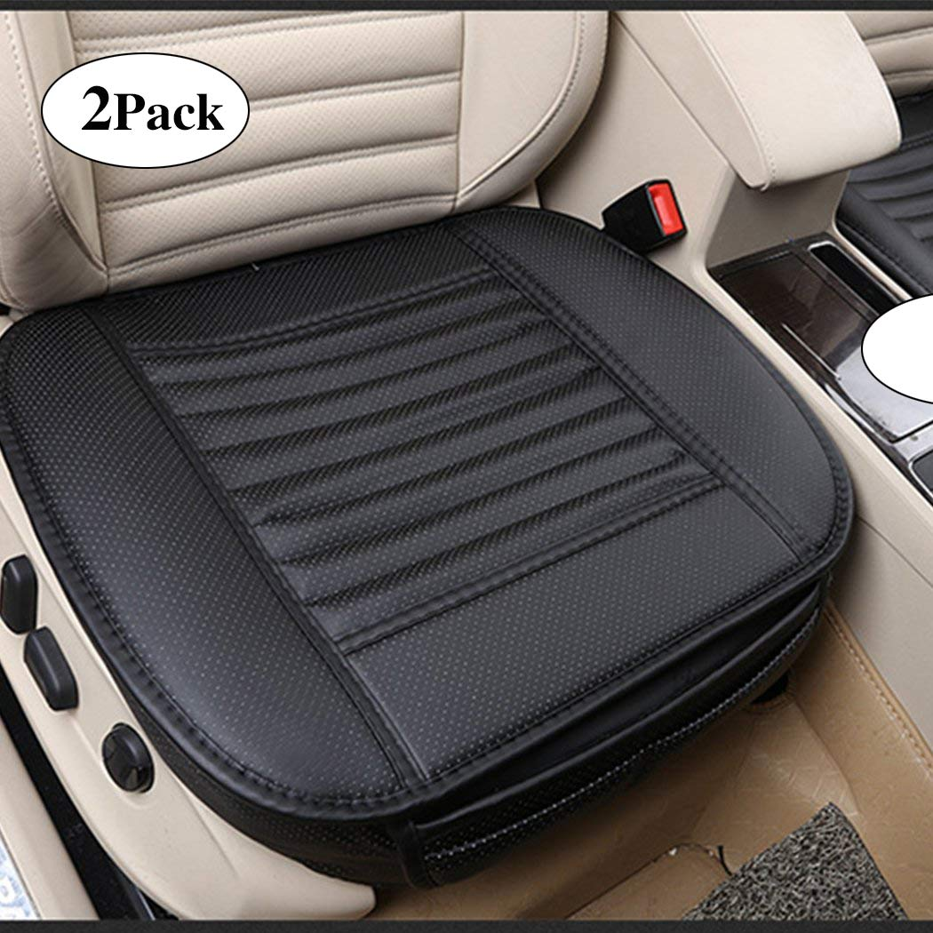 Sunny color 2pc Edge Wrapping Car Front Seat Cushion Cover Pad Mat for Auto Supplies Office Chair with PU Leather Bamboo Charcoal (Black)