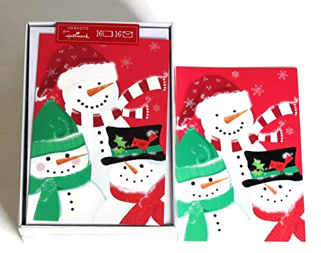 Hallmark Christmas Cards.Hallmark Christmas Boxed Cards Bulk Set Of 32 Holiday Greeting Cards And Envelopes Three Cute Snowmen Wearing Three Different Kind Of Glitter Hats