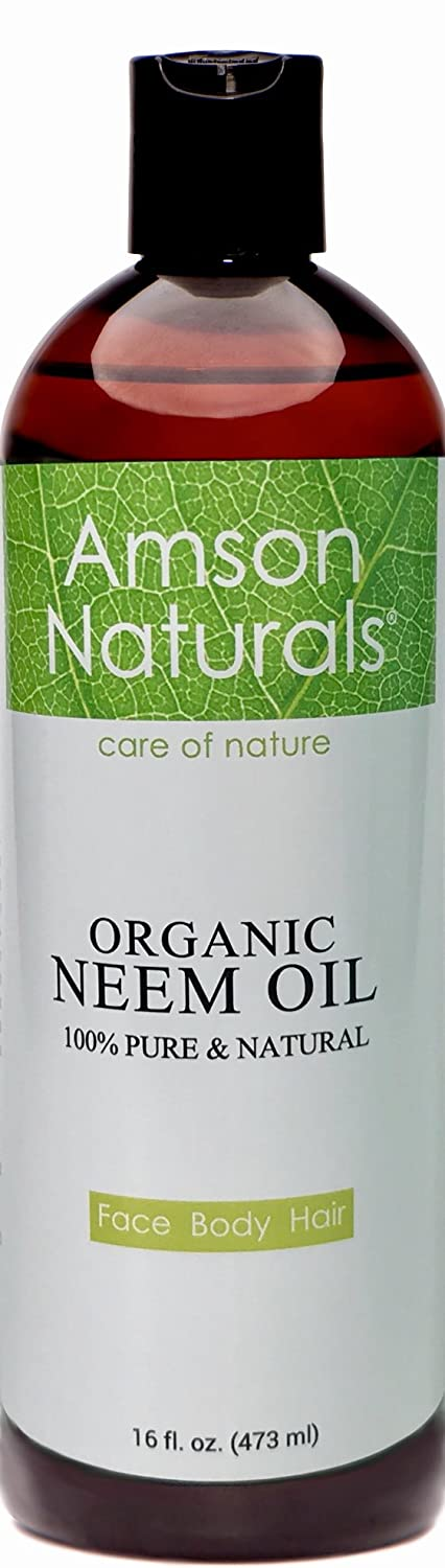 NEEM OIL ORGANIC -16oz/473ml-by Amson Naturals-100% Pure & Natural, Cold Pressed -For Face Body Hair - Skin Care, Hair Care