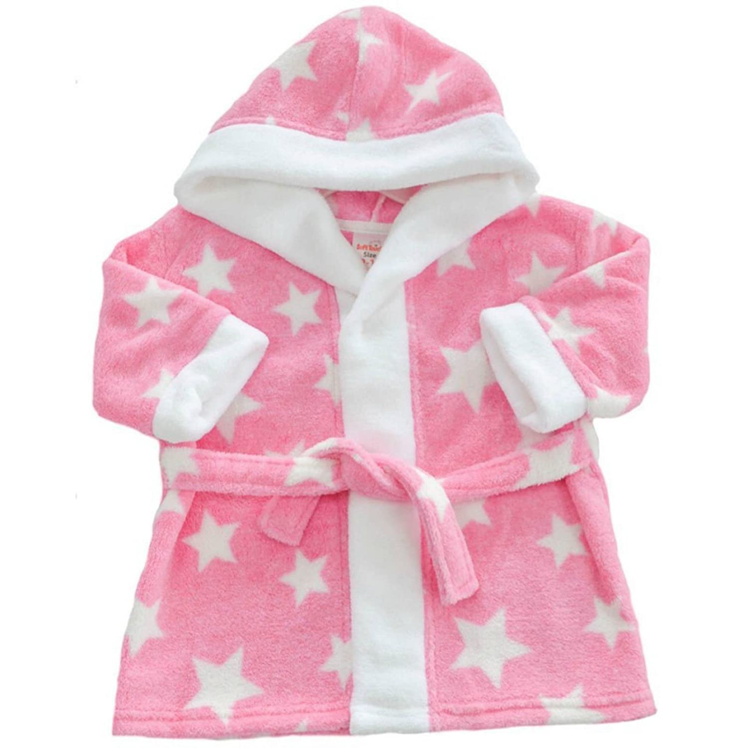 Baby Dressing Gown/Infants Fleece Robe with Hood & Stars - Boys/Girls