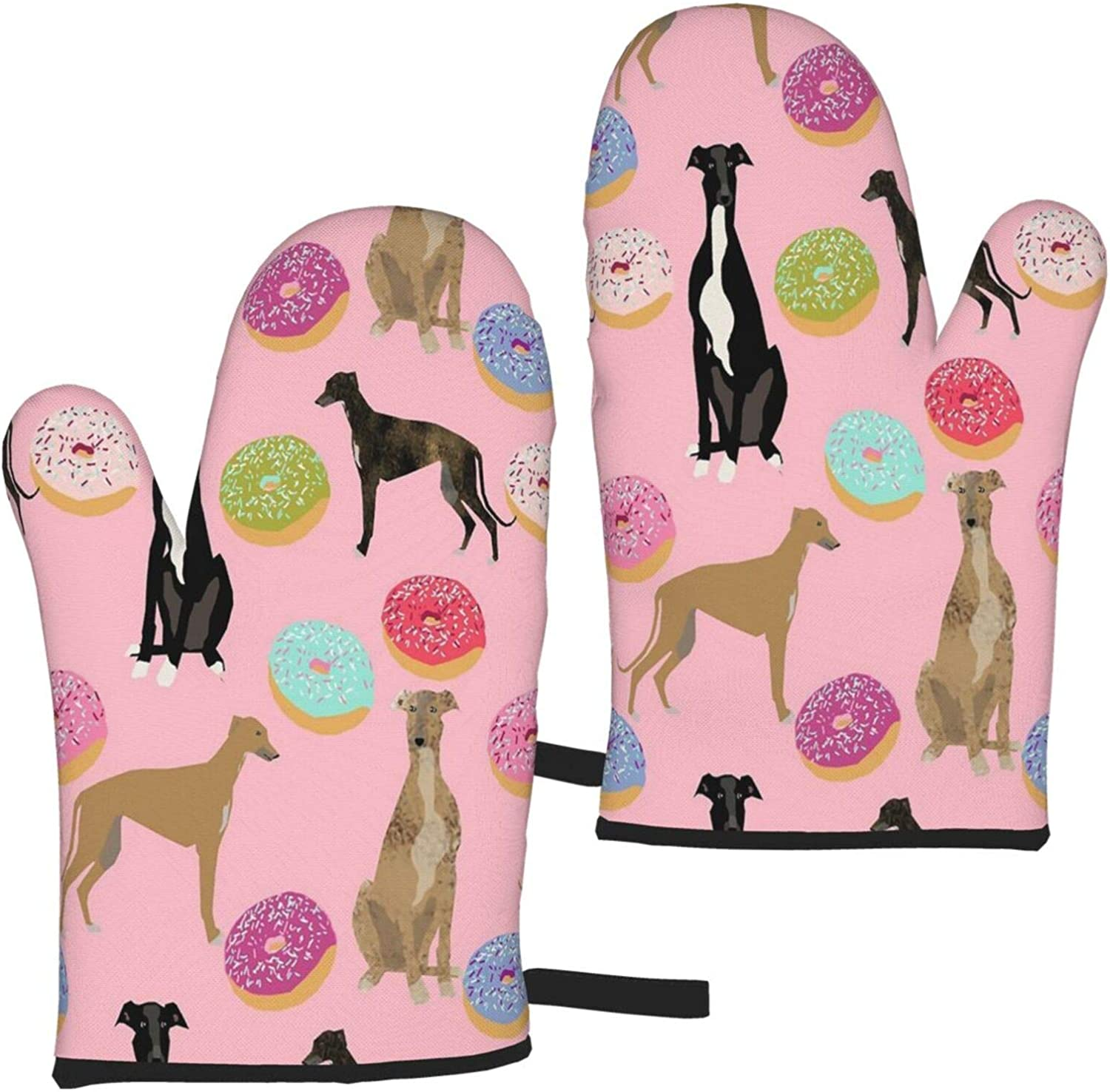 Fonsmay Cooking Gloves, Pink Greyhound Donuts Oven Mitt Heat Resistant for BBQ Cooking Microwave for Thanksgiving for 7.3 X 11 Inches