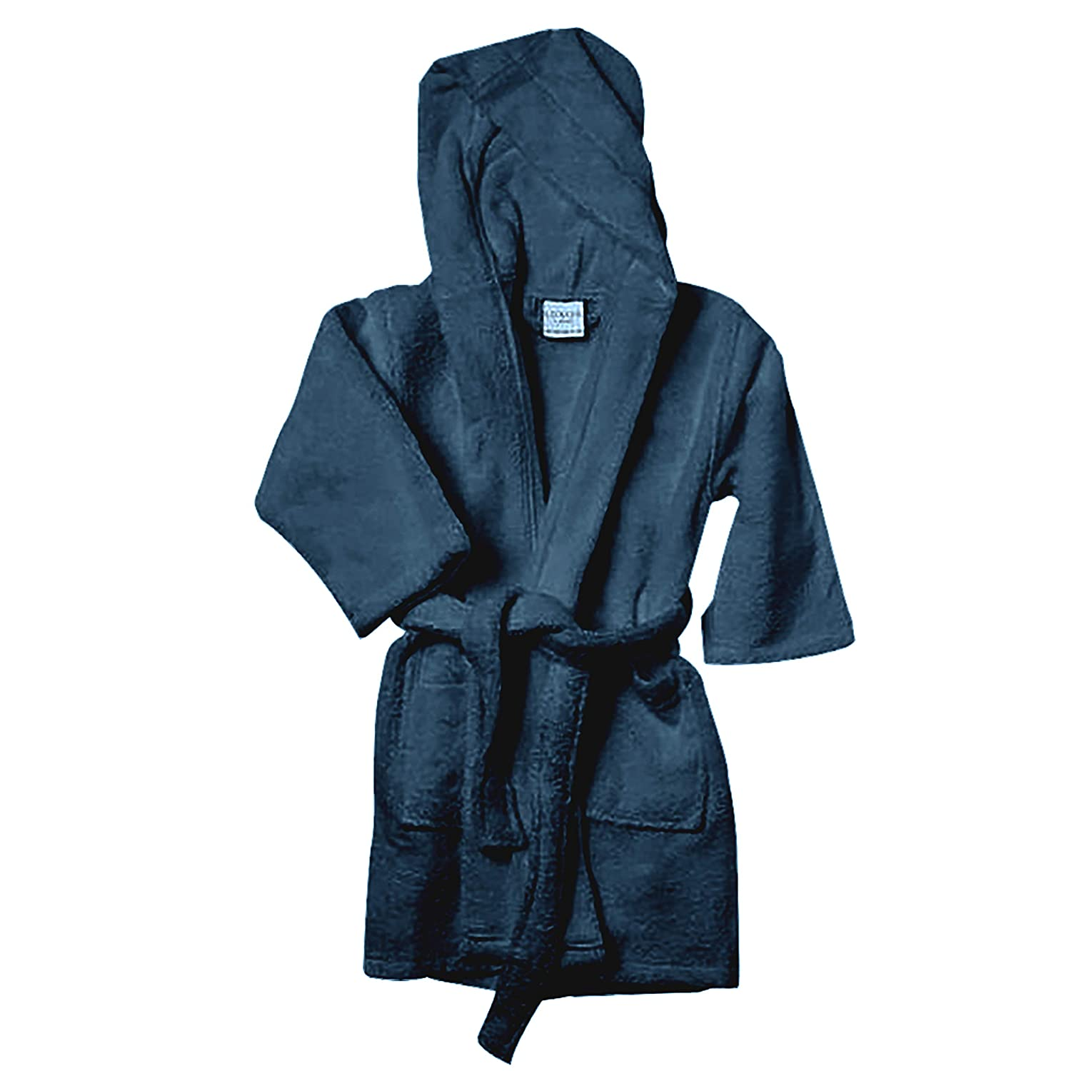 Luxor Linens Kids Robe - Luxury Hooded Bathrobe for Girls and Boys and 100% Egyptian Cotton (Navy, Large)