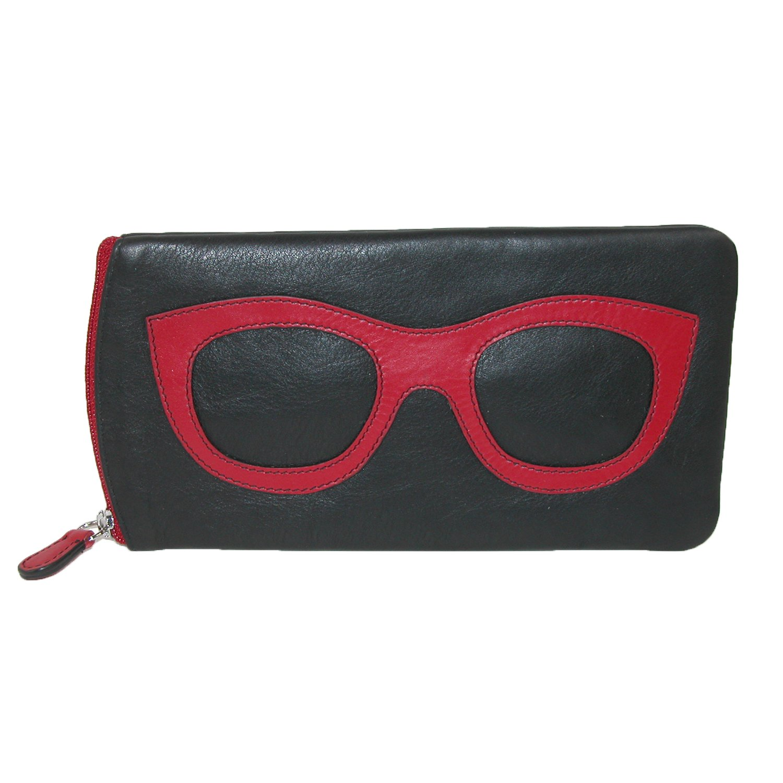 ili New York 6462 Leather Eyeglass Case (Black/Red)