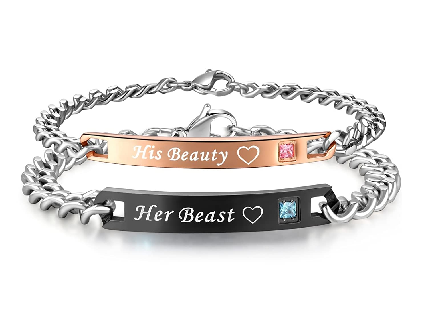 His Queen Her King Stainless Steel His and Hers Couple Bracelet ...