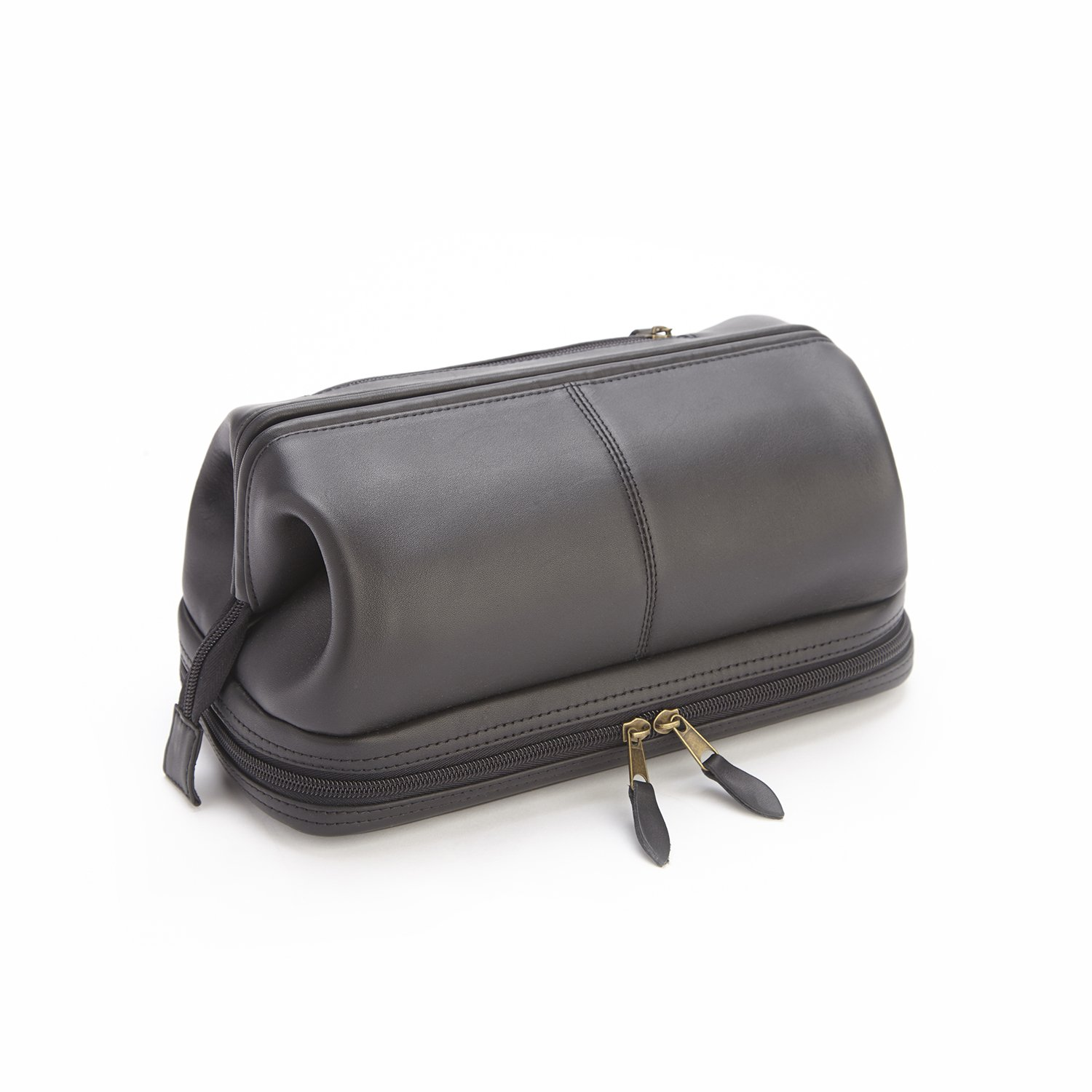 Royce Leather Toiletry Travel Wash Bag with Zippered Bottom Compartment, Black, One Size by Royce Leather