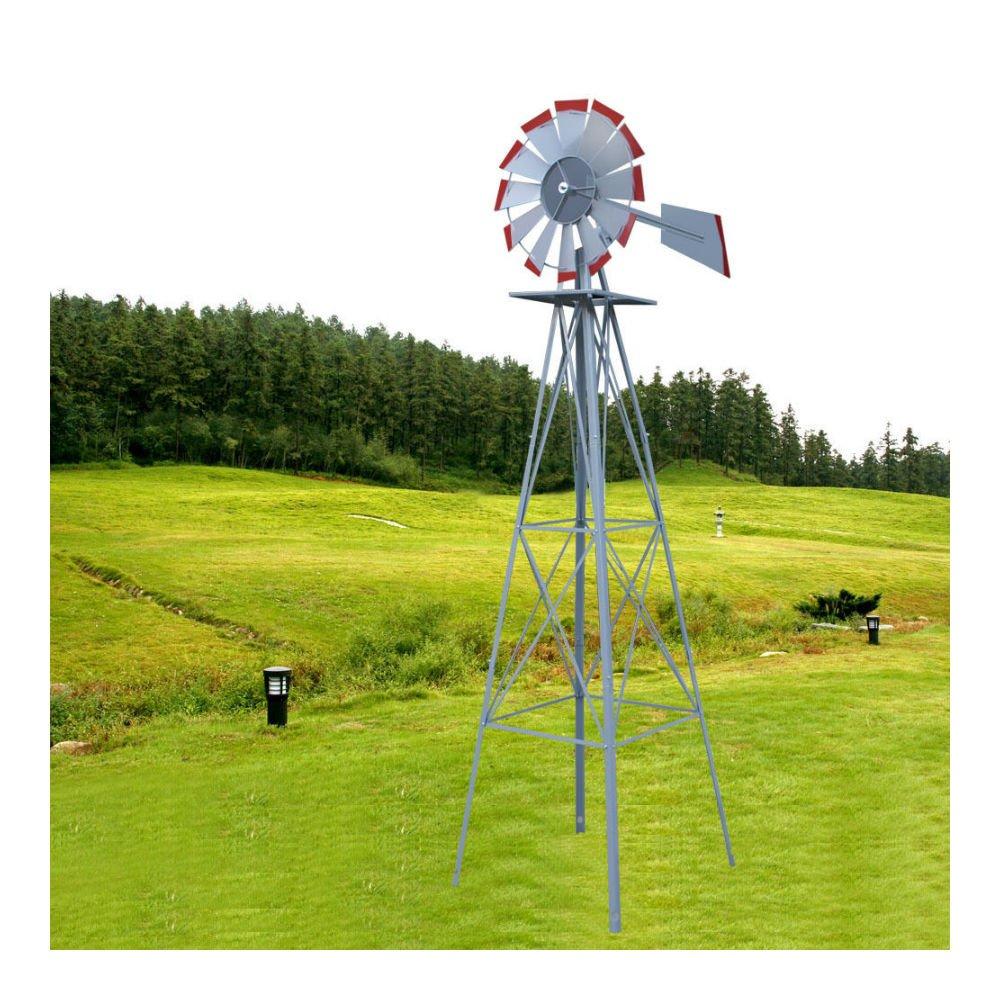 Amazon.com : 8ft. Ornamental Decorative Garden Yard Windmill Silver ...