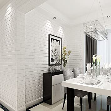 HaokHome ZZ 03 Vinyl Faux White Brick Wallpaper For Living Room WallPaper  Walls 20.8u0026quot;