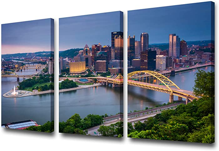 Pittsburgh City Center Skyline Giclee Canvas Prints Modern Artwork Pennsylvania Cityscape Pictures Paintings on Canvas Wall Art for Living Room Bedroom Home Office Decorations - 24''x12''x3 panels