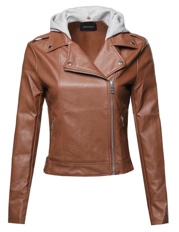 Casual Detached Hood Zipper Closure Notched Collar Leather Jacket Cognac Size M