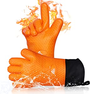 Silicone Cooking Gloves Heat Resistant Oven Mitt, Washable Non-Slip BBQ Gloves, Extended Forearm Protection, Grilling Gloves with Cotton Layer, Pot Holder for Cooking Baking Frying Barbecue, Orange
