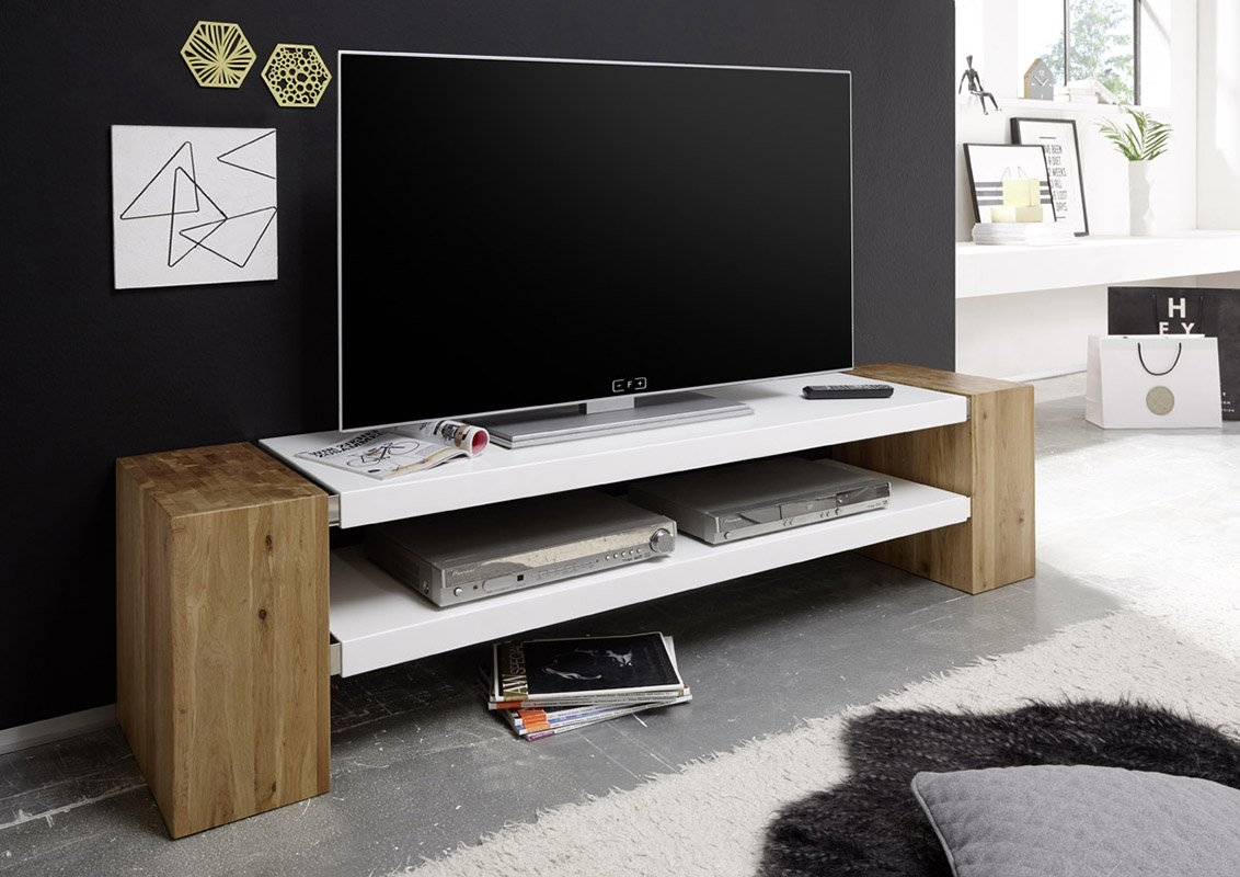 JANE TV Stand – Large TV table from oiled solid oak blocks with white matt lacquered MDF boards – Stylish TV console with two spacious shelves for TVs up to 75'' – Mesa TV para televisores de hasta 75''