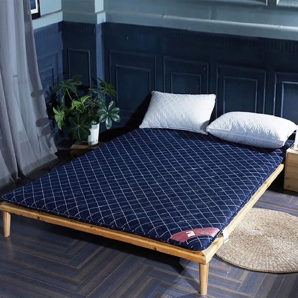 厚め ベッドパッド, 折りたたみ 和風 床 布団 マットマット 学生 寮 ダブル 1 マットレスをロールアップします。-d B07S69XYFW