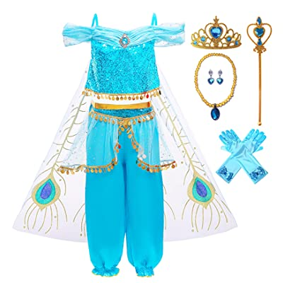 KuKiee Girls Princess Costume Halloween Cosplay Party Dress Up: Clothing