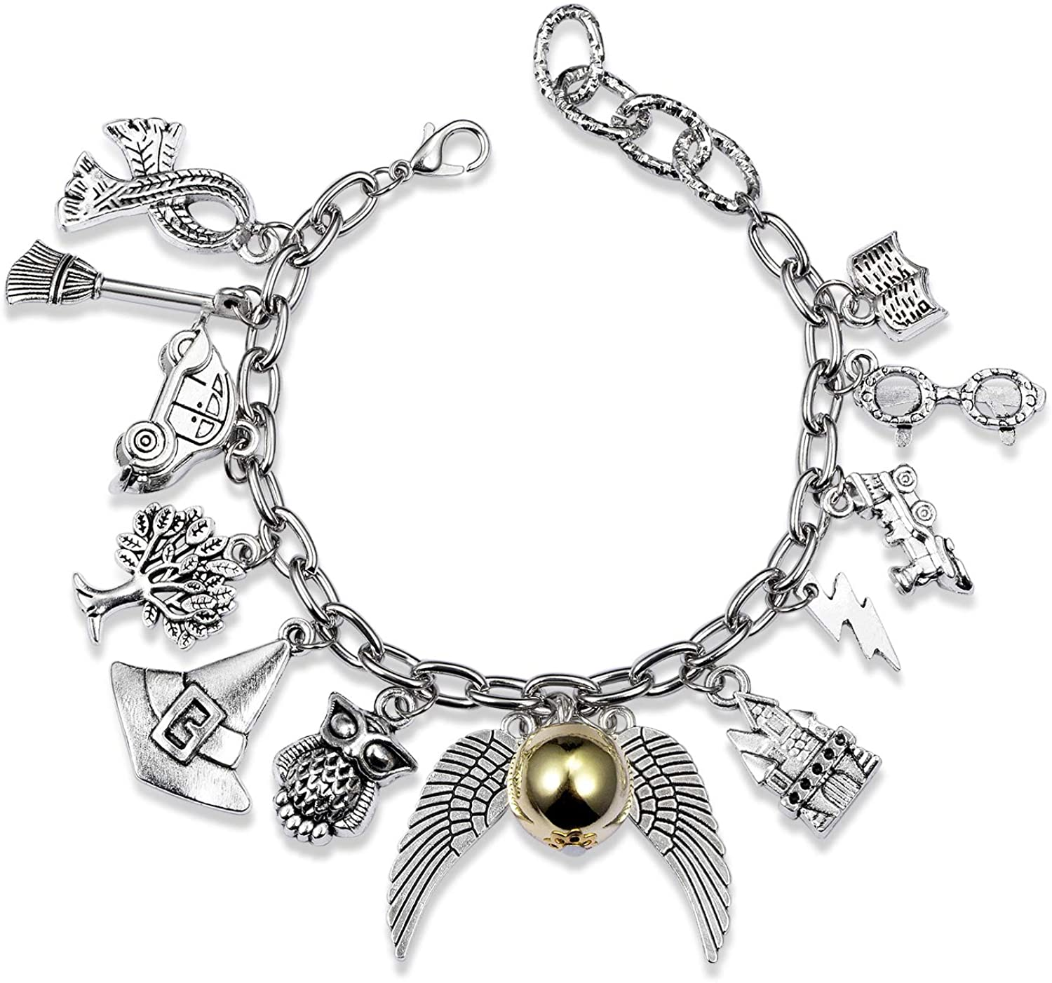 Bracelet Themed Charm Friendship Bracelets 8-Inch Silver Birthday Gift with Jewelry Bag For Teens Girls