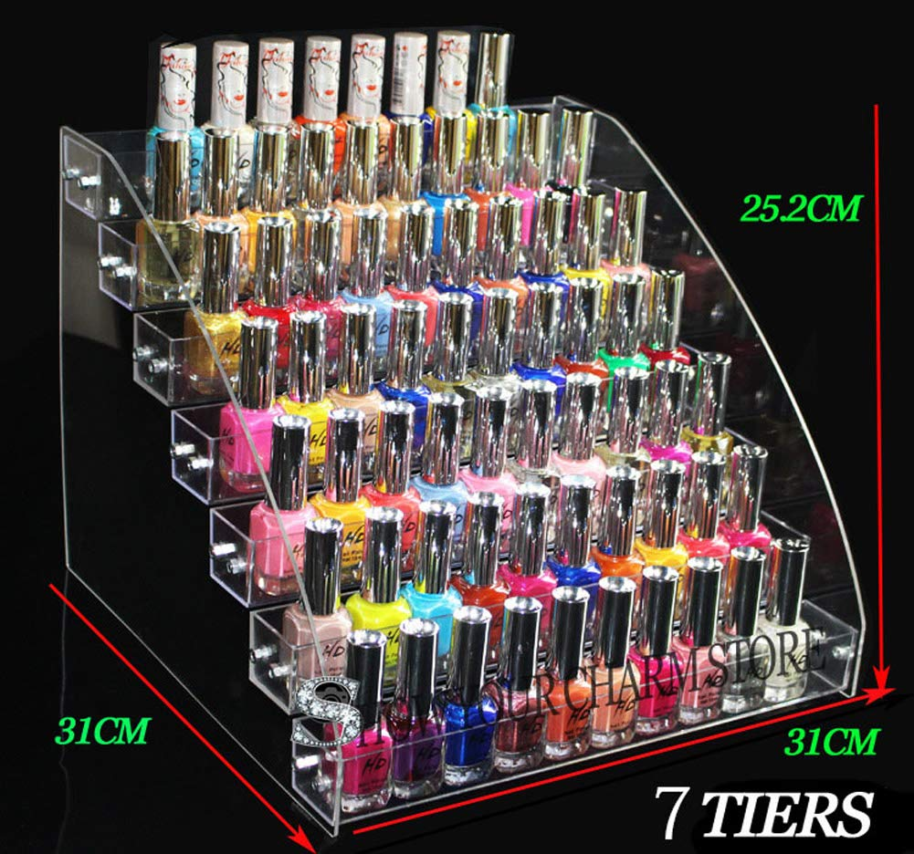 1 Pcs Multi-Layer Removable Nail Polish Shelf Acrylic Clear Cosmetics Multi-Functional Display Stand Rack Holder for Women 7 Layers