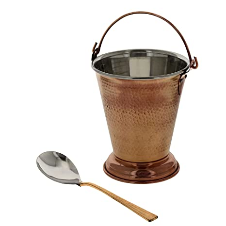 Indian Copper Tableware Balti Bucket and Serving Spoon Set Dinnerware Sets at amazon