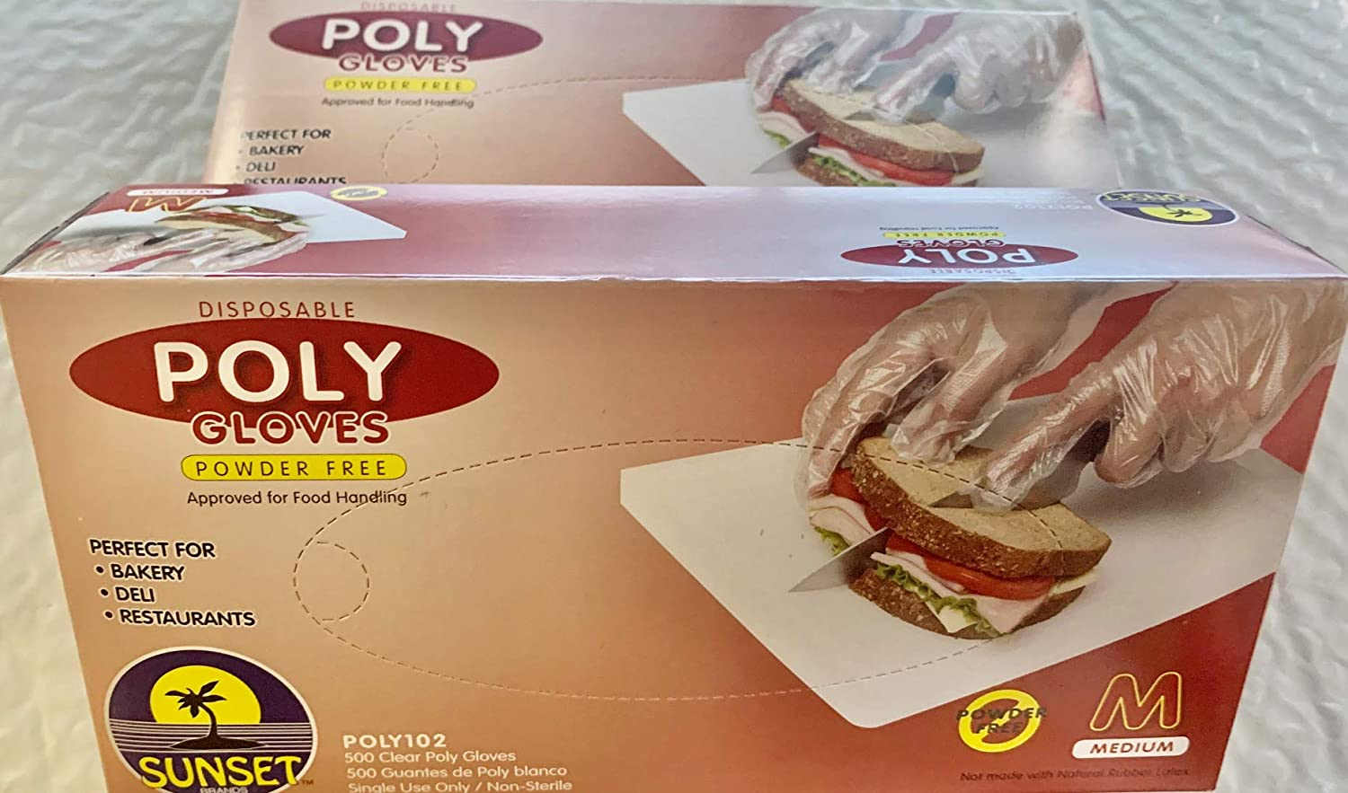 1000 Medium Size Disposable Poly Gloves, Powder Free, Smooth Touch, Food Service Grade, Polyethylene, Non-Sterile [2x500 Pack]
