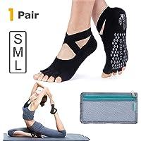 Hylaea Yoga Calcetines para las mujeres con Grip & Toeless calcetín antideslizante para ballet, Pilates, algodón peinado