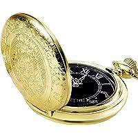 Reloj de Bolsillo de Cuarzo para Hombres con Esfera Negra y Cadena