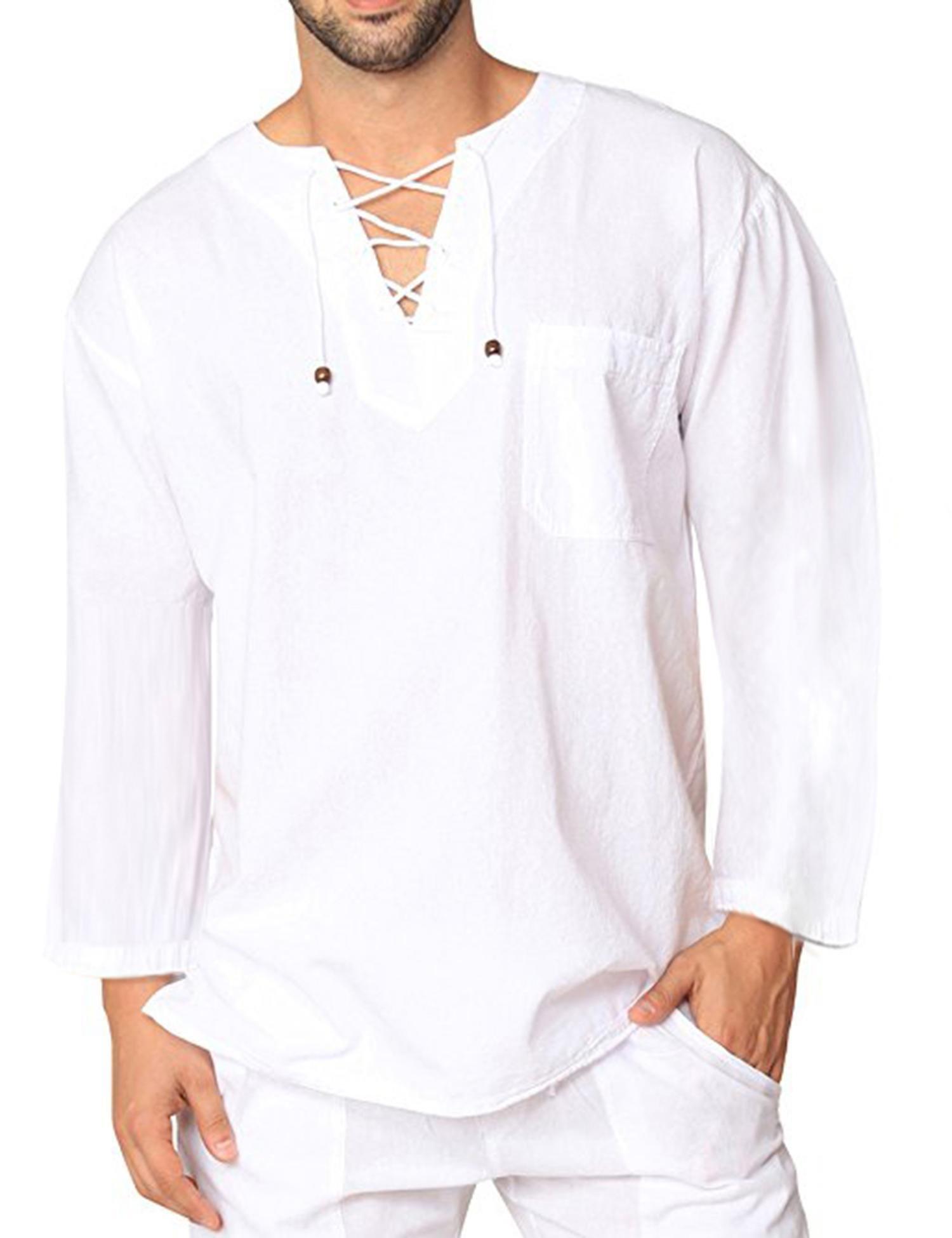 COOFANDY Mens Fashion T Shirt Cotton Tee Hippie Shirts Long Sleeve Yoga Top,White,Large
