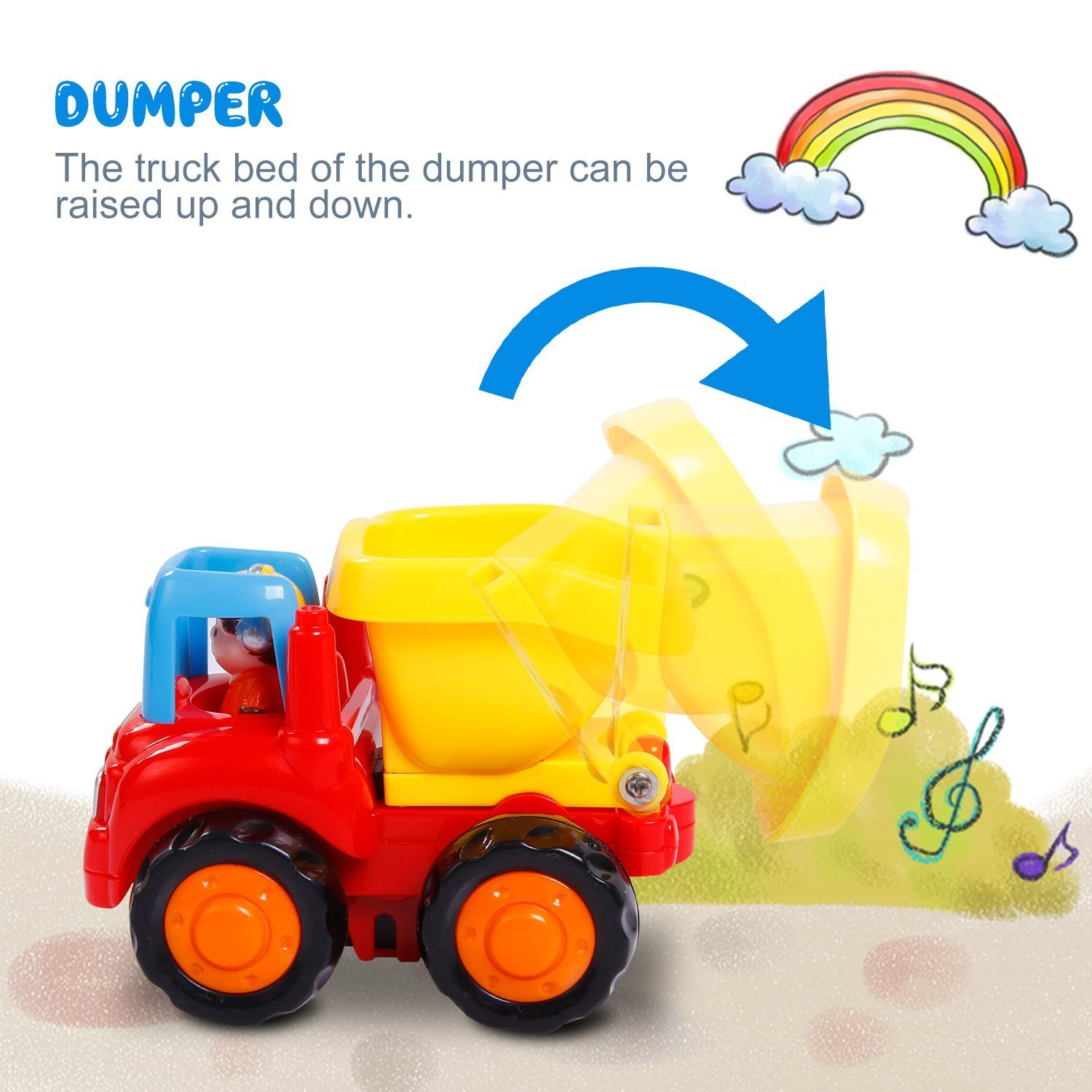 Friction Powered Cars Push and Go Car Construction Vehicles Toys Set of 4 Tractor,Bulldozer,Cement Mixer Truck,Dumper Push Back Cartoon Play for  2 3 Years Old Boys Toddlers Kids Gift by GoStock (Image #4)
